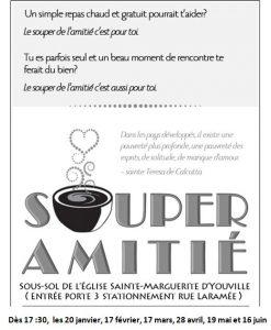 Souper de l'amitié @ PAROISSE SAINTE MARGUERITE D'YOUVILLE   Châteauguay   Québec   Canada